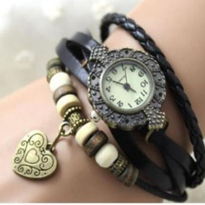 heart watch, heart leather watch, b..