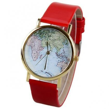 map watch, map leather watch, leath..