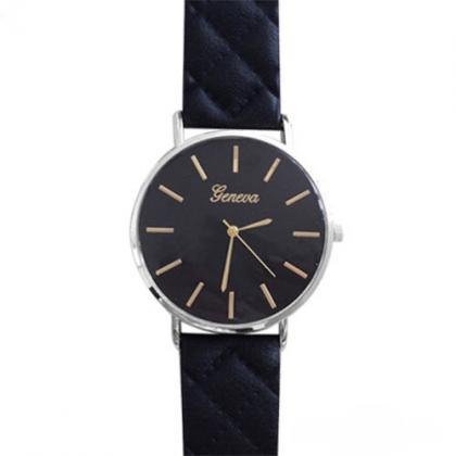 Chic watch, black leather watch, le..