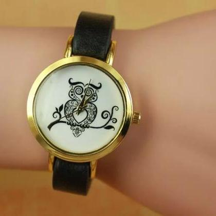Owl watch, black leather watch, lea..