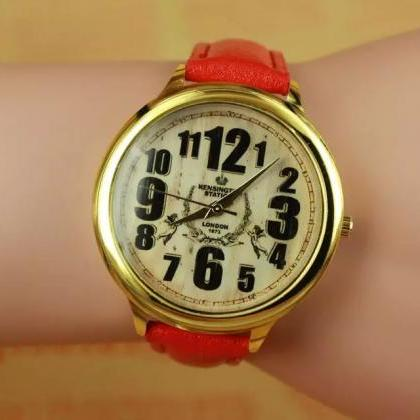 Vintage style watch, red leather wa..