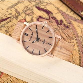 Wood pattern leather watch, Style w..