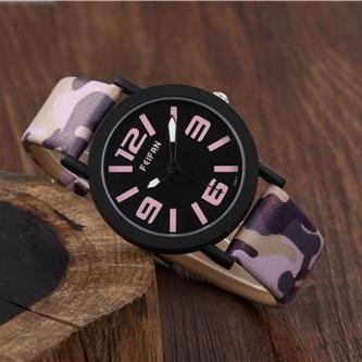 camouflage band leather watch, leat..