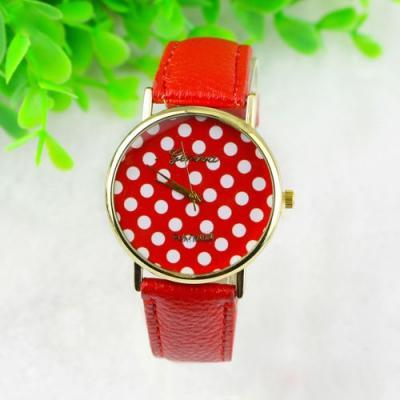 dot watch, red polka dot leather watch, leather watch, bracelet watch, vintage watch, retro watch, woman watch, lady watch, girl watch, unisex watch, AP00083