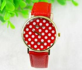 dot watch, red polka..