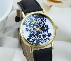 Lace watch, black le..