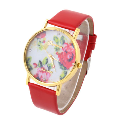 flower watch, flower leather watch, floral watch, leather watch, bracelet watch, vintage watch, retro watch, woman watch, lady watch, girl watch, unisex watch, AP0005
