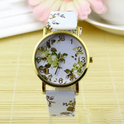 flower watch, flower leather watch, floral watch, leather watch, bracelet watch, vintage watch, retro watch, woman watch, lady watch, girl watch, unisex watch, AP00097