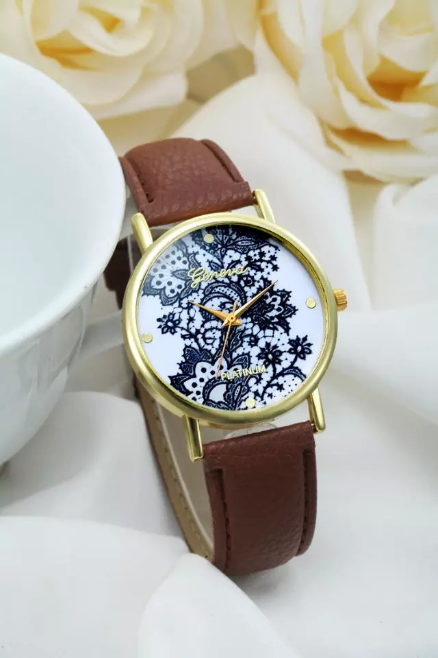 Lace watch, brown leather watch, leather watch, bracelet watch, vintage watch, retro watch, woman watch, lady watch, girl watch, unisex watch, AP00188