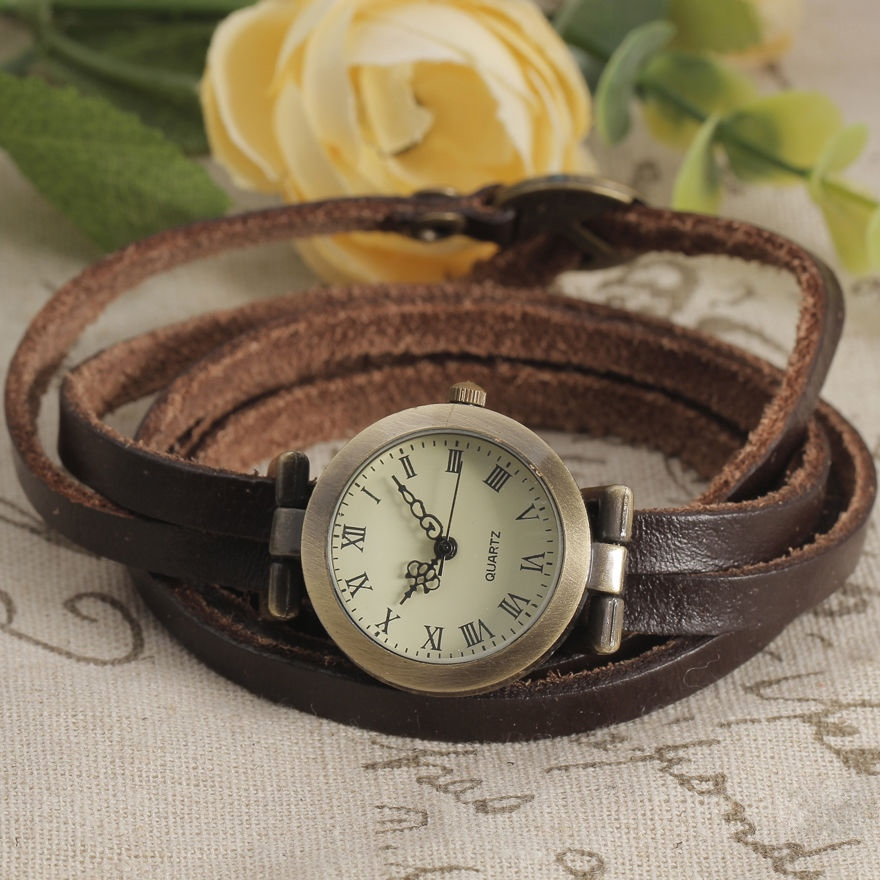 Long Genuine Leather Strap watch, leather watch, dark brown bracelet watch, leather watch, bracelet watch, vintage watch, retro watch, woman watch, lady watch, girl watch, unisex watch, AP00228