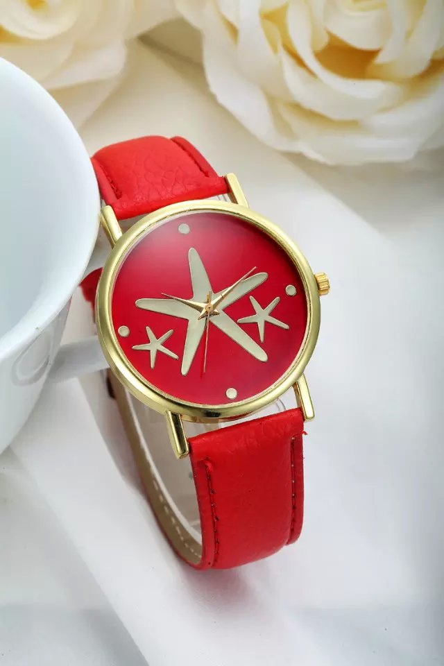 Star watch, star leather watch, leather watch, bracelet watch, vintage watch, retro watch, woman watch, lady watch, girl watch, unisex watch, AP00240