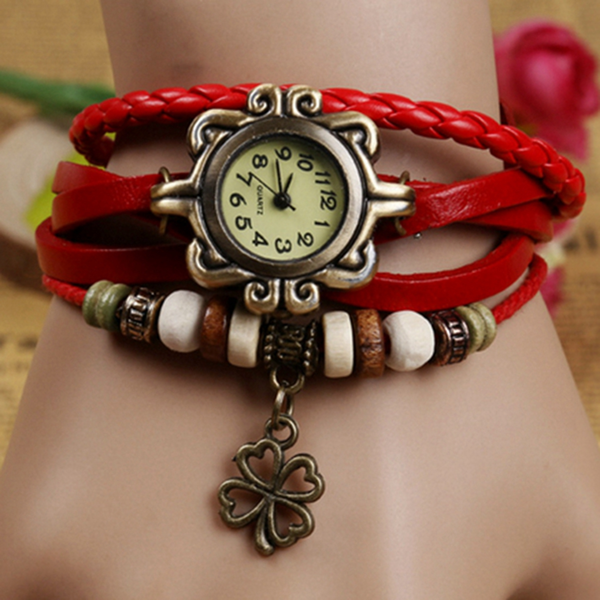 Leaf Watch Leather Red Bracelet