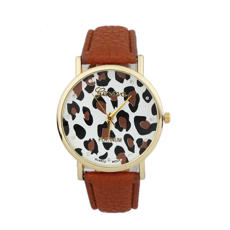 Leopard watch, leopard leather watch, brown leather watch, bracelet watch, vintage watch, retro watch, woman watch, lady watch, girl watch, unisex watch, AP00387