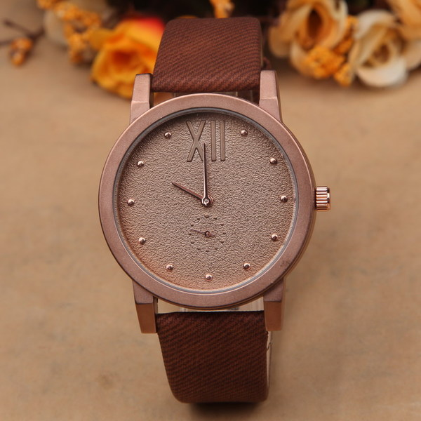 Sand Pattern Watch Face Leather Dark Brown Bracelet