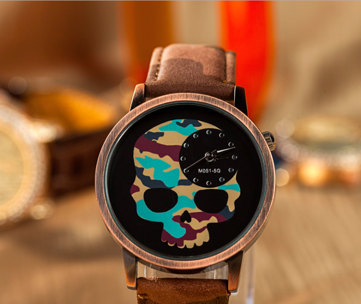 Skull leather watch, leather watch, bracelet watch, vintage watch, retro watch, woman watch, lady watch, girl watch, unisex watch, AP00554