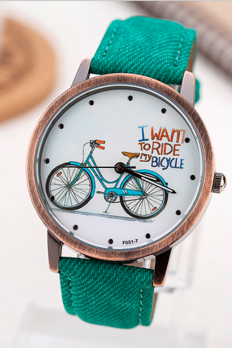 Bicycle leather watch, leather watch, bracelet watch, vintage watch, retro watch, woman watch, lady watch, girl watch, unisex watch, AP00591
