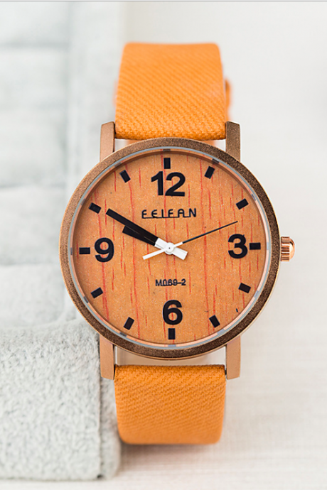 Wood style leather watch, leather watch, bracelet watch, vintage watch, retro watch, woman watch, lady watch, girl watch, unisex watch, AP00593