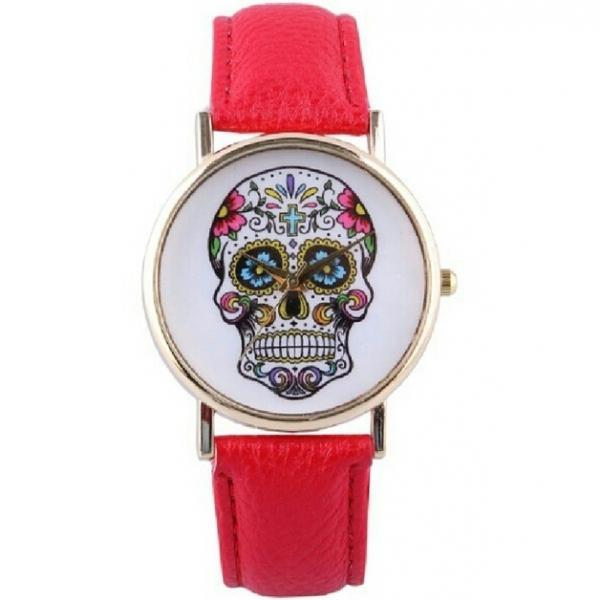 skull watch, skull leather watch, red watch, leather watch, bracelet watch, vintage watch, retro watch, woman watch, lady watch, girl watch, unisex watch, AP0010