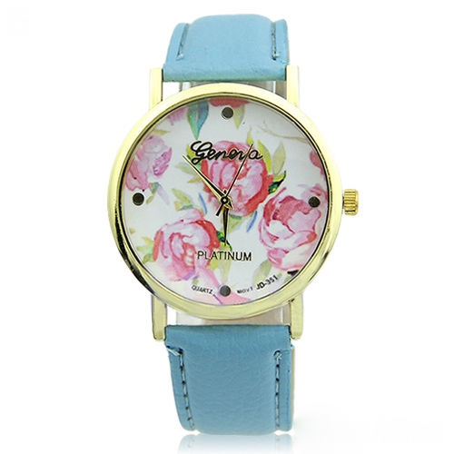flower watch, flower leather watch, floral watch, sky blue watch, leather watch, bracelet watch, vintage watch, retro watch, woman watch, lady watch, girl watch, unisex watch, AP00093