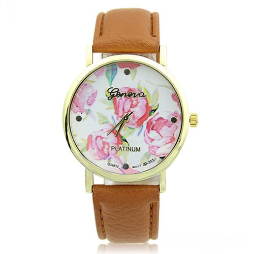 flower watch, flower leather watch, floral watch, brown watch, leather watch, bracelet watch, vintage watch, retro watch, woman watch, lady watch, girl watch, unisex watch, AP00094