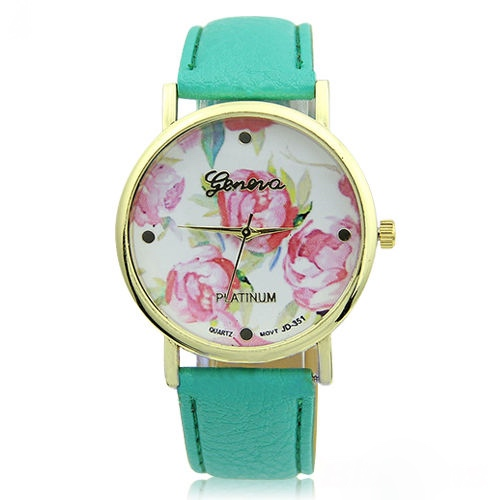flower watch, flower leather watch, floral watch, mint watch, leather watch, bracelet watch, vintage watch, retro watch, woman watch, lady watch, girl watch, unisex watch, AP00096