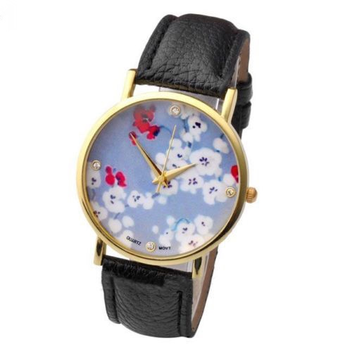 flower watch, flower leather watch, floral watch, leather watch, bracelet watch, vintage watch, retro watch, woman watch, lady watch, girl watch, unisex watch, AP00104
