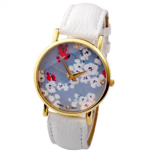 flower watch, flower leather watch, floral watch, leather watch, bracelet watch, vintage watch, retro watch, woman watch, lady watch, girl watch, unisex watch, AP00105