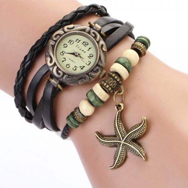 Starfish Watch, Starfish Leather Watch, Leather Bracelet Watch, Leather Watch, Bracelet Watch, Vintage Watch, Retro Watch, Woman Watch, Lady Watch, Girl Watch, Unisex Watch, black