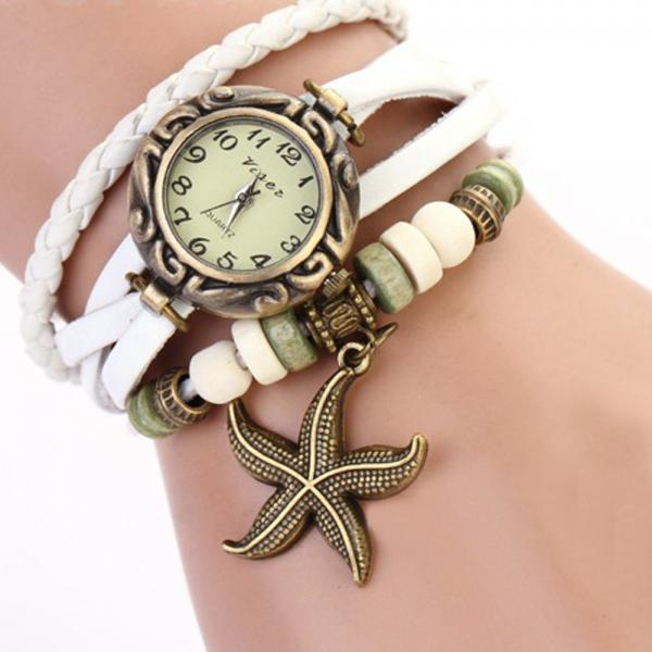 Starfish Watch, Starfish Leather Watch, Leather Bracelet Watch, Leather Watch, Bracelet Watch, Vintage Watch, Retro Watch, Woman Watch, Lady Watch, Girl Watch, Unisex Watch, white