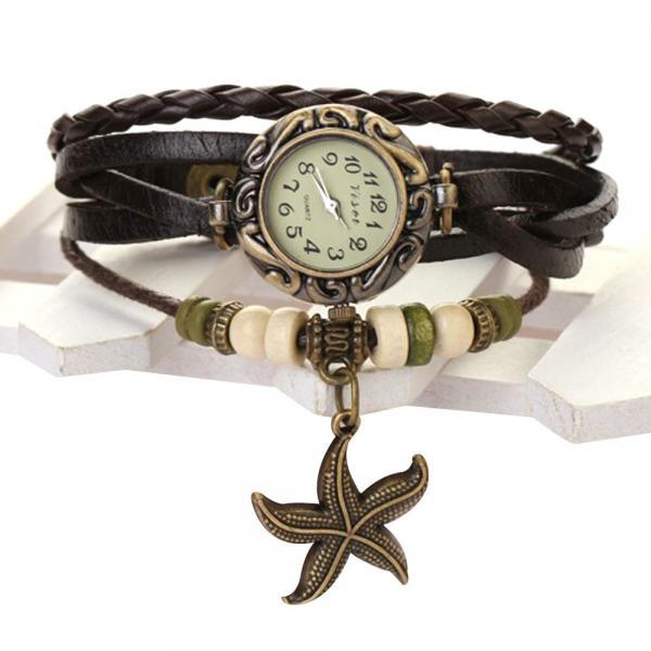 Starfish Watch, Starfish Leather Watch, Leather Bracelet Watch, Leather Watch, Bracelet Watch, Vintage Watch, Retro Watch, Woman Watch, Lady Watch, Girl Watch, Unisex Watch, dark brown