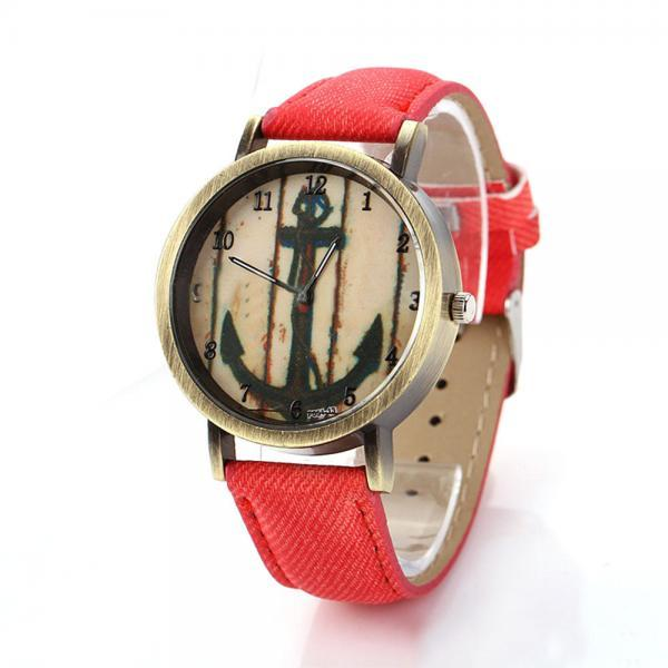 Denim-Look watch, anchor watch, red leather watch, leather watch, bracelet watch, vintage watch, retro watch, woman watch, lady watch, girl watch, unisex watch, AP00192