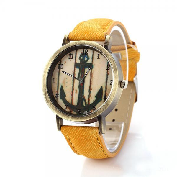 Denim-Look watch, anchor watch, yellow leather watch, leather watch, bracelet watch, vintage watch, retro watch, woman watch, lady watch, girl watch, unisex watch, AP00193