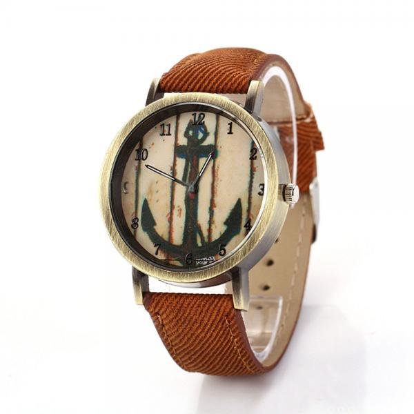 Denim-Look watch, anchor watch, brown leather watch, leather watch, bracelet watch, vintage watch, retro watch, woman watch, lady watch, girl watch, unisex watch, AP00196