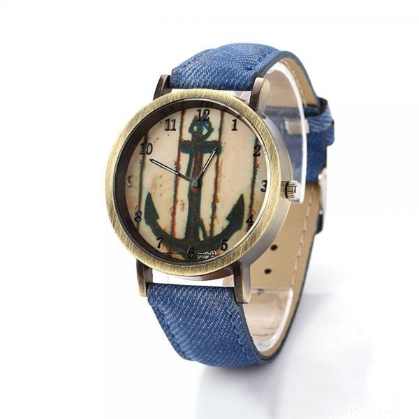 Denim-Look watch, anchor watch, blue leather watch, leather watch, bracelet watch, vintage watch, retro watch, woman watch, lady watch, girl watch, unisex watch, AP00198