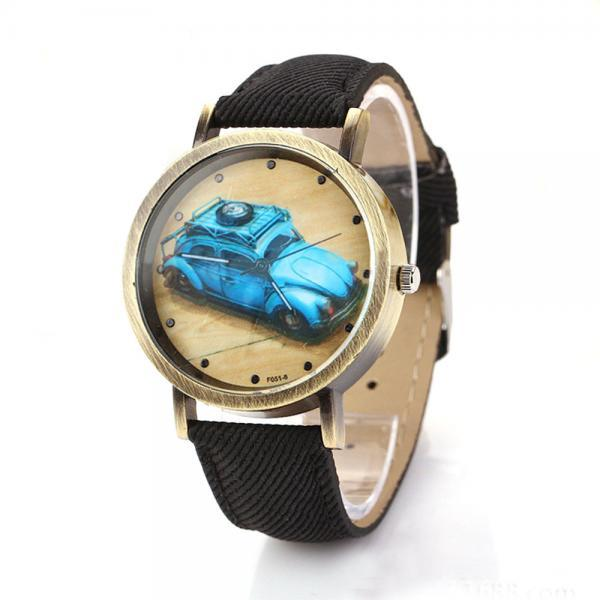 Denim-Look watch, car pattern watch, black leather watch, leather watch, bracelet watch, vintage watch, retro watch, woman watch, lady watch, girl watch, unisex watch, AP00201