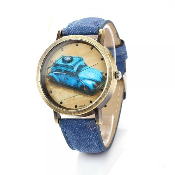 Denim-Look watch, car pattern watch, blue leather watch, leather watch, bracelet watch, vintage watch, retro watch, woman watch, lady watch, girl watch, unisex watch, AP00202
