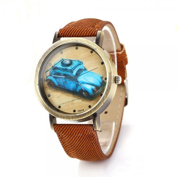 Denim-Look watch, car pattern watch, brown leather watch, leather watch, bracelet watch, vintage watch, retro watch, woman watch, lady watch, girl watch, unisex watch, AP00204