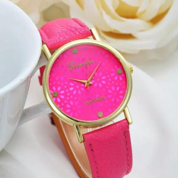 Flower Watch, Hot Pink Leather Watch, Pretty Leather Watch, Bracelet Watch, Vintage Watch, Retro Watch, Woman Watch, Lady Watch, Girl Watch, Unisex Watch, AP00236