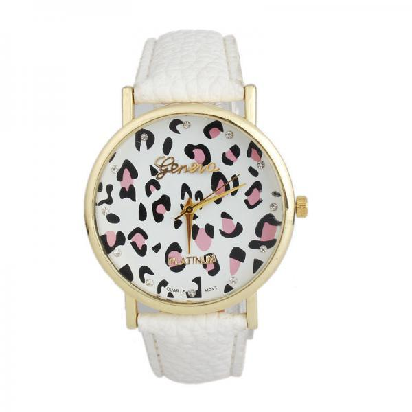 Leopard watch, leopard leather watch, white leather watch, bracelet watch, vintage watch, retro watch, woman watch, lady watch, girl watch, unisex watch, AP00385