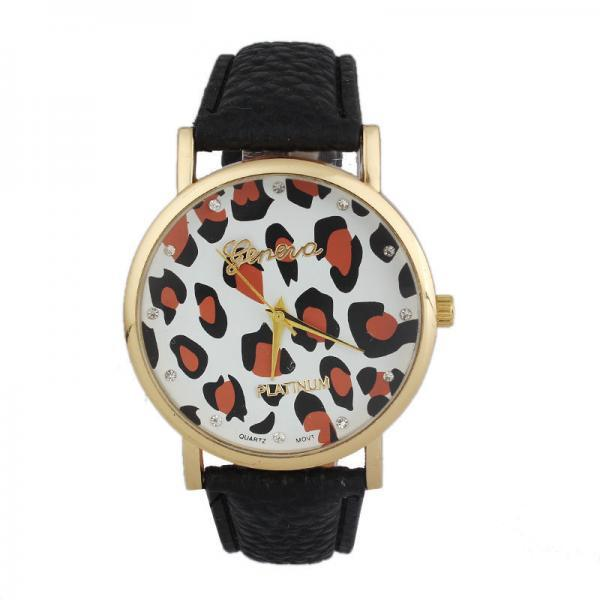 Leopard watch, leopard leather watch, black leather watch, bracelet watch, vintage watch, retro watch, woman watch, lady watch, girl watch, unisex watch, AP00386
