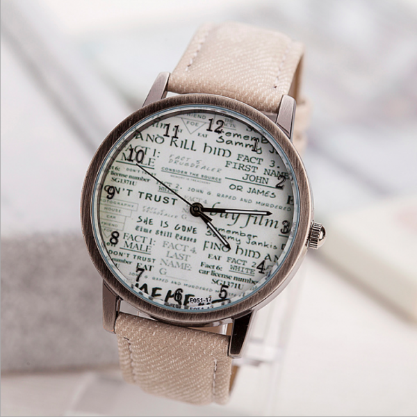 Vintage Style Retro Style Watch, beige leather watch, leather watch, bracelet watch, vintage watch, retro watch, woman watch, lady watch, girl watch, unisex watch, AP00551