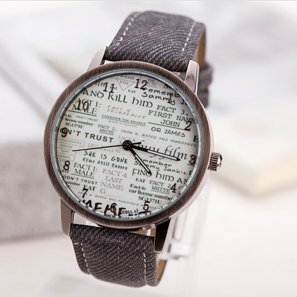 Vintage Style Retro Style Watch, grey leather watch, leather watch, bracelet watch, vintage watch, retro watch, woman watch, lady watch, girl watch, unisex watch, AP00552