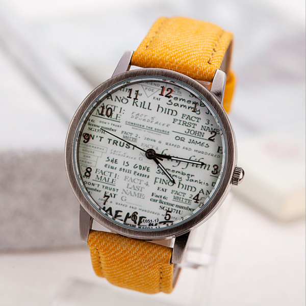 Vintage Style Retro Style Watch, yellow leather watch, leather watch, bracelet watch, vintage watch, retro watch, woman watch, lady watch, girl watch, unisex watch, AP00553