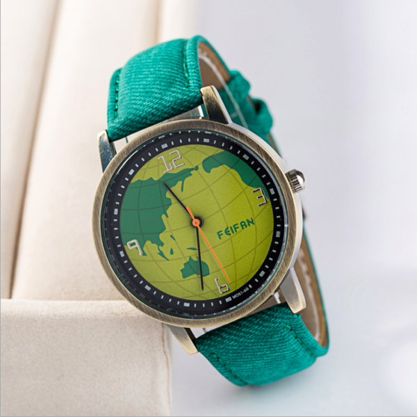Earth map leather watch, bracelet watch, vintage watch, retro watch, woman watch, lady watch, girl watch, unisex watch, AP00620